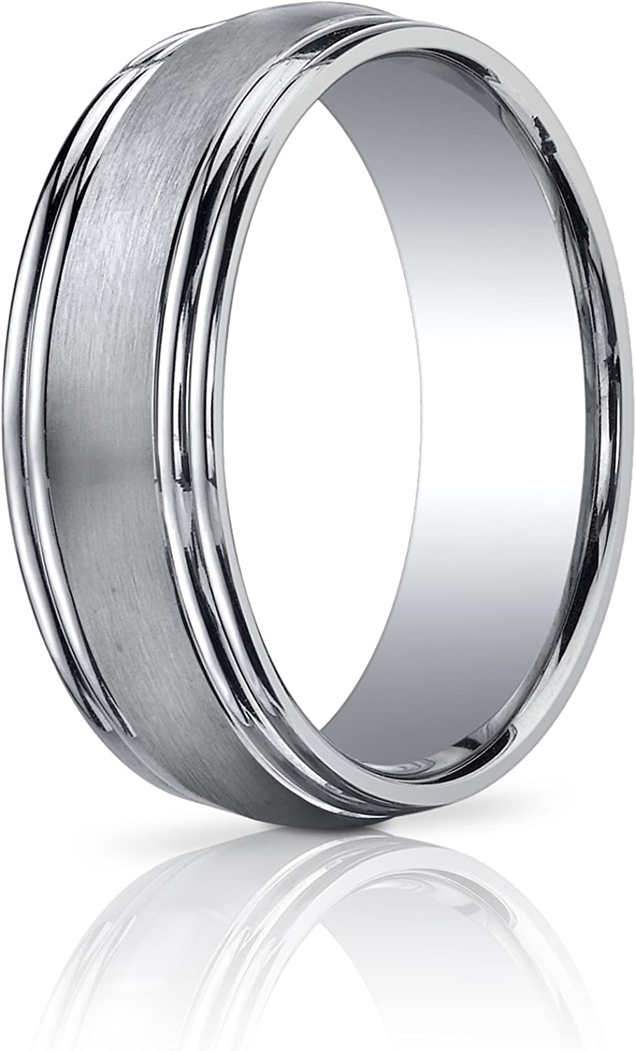 Women's 14K White Gold Sales OFFicial store results No. 1 7.5mm Comfort Fit Finished Double E Satin