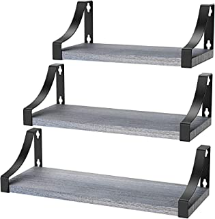 Best Amada Floating Shelves Wall Mounted, Rustic Paulownia Wood Wall Shelves Set of 3 for Bedroom, Bathroom, Living Room, Farmhouse Kitchen, Gray Review