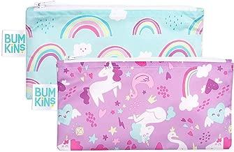 Bumkins Snack Bags, Reusable, Washable, Food Safe, BPA Free, 2-Pack - Unicorns & Rainbows
