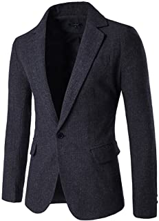 Allthemen Mens Herringbone Smart Casual Blazer Single Breasted One Button Jacket Coat