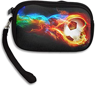 Reteone Little Wallet - Funny Soccer with Colorful Fire Coin Purse Storage Package - Money Holder Bag Key Handbag - Zipper Mini Wallet for Men & Women