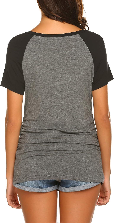Ekouaer Women's Maternity Nursing Tops for Breastfeeding Henley Shirts Soft Button Down Short Sleeve Pregnancy T-Shirt