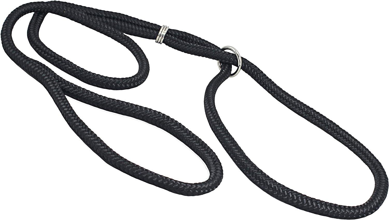 Dog Show Lead Braided Tubular Nylon 52  Long (Large  diam 3 8 (10mm), Black)