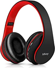 Bluetooth Headphones Wireless,MKay Over Ear Headset V5.0 with Microphone, Foldable & Lightweight, Support Tf Card MP3 Mode and Fm Radio for Cellphones Laptop TV((Black-Red)