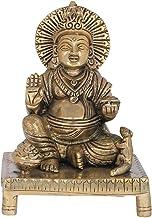 Kubera, The God of Wealth Seated on a Chowki - Brass Statue