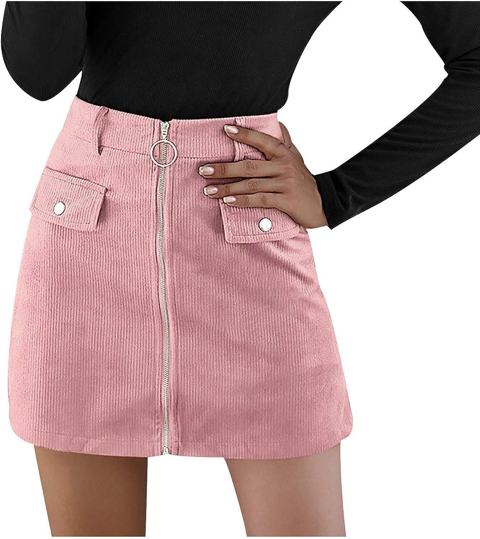 WOYAOFA Women's Basic Solid Corduroy Zipper Elastic High Waist Casual Short Pencil Bodycon A-Line Mini Skirt