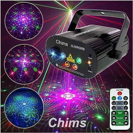 Chims ライトレーザープロジェクター RGB 96パターン リモートコントロールLED音声制御装飾照明舞台照明システム 4光源アパーチャーレンズ赤と緑ブルー家族パーティDJクリスマスハロウィン新年Partyバーいざかやステージ ディスコ クラブ カラフルロマンチックな雰囲気装飾パーティ照明