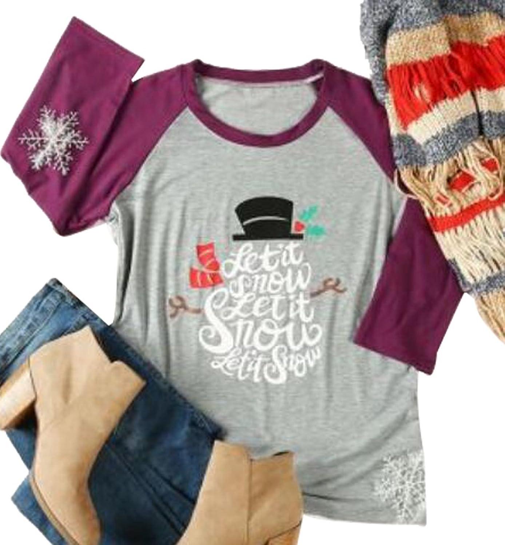 EGELEXY Women Christmas Lettr Snowman Snowflake Print 3 4 Sleeve Splicing TShirt Blouse