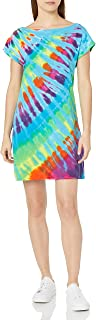 Liquid Blue Women's Rainbow Blue Streak Tie Dye Boat Neck Sundress