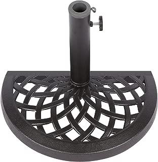 Cast Iron Half Umbrella Base - 17.7 Inch Diameter by Trademark Innovations (Black Finish)