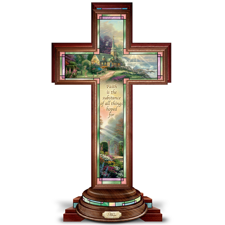 Image of Beautiful Lighted Thomas Kinkade Cross Figurine Inspiring Hope