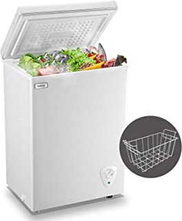 WANAI Chest Freezer 3.5 Cubic Feet Compact Freezers with Adjustable Thermostat Top Open Door Freezer Compressor Cooling wi...