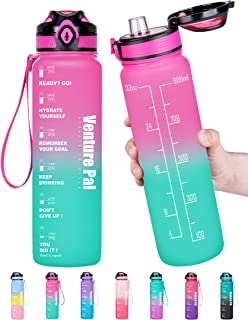 Venture Pal 32oz Motivational Leakproof Fast Flow Trendy Water Bottle with Time Marker & Removable Strainer to Remind You Drink More Water and Hydrate in Style