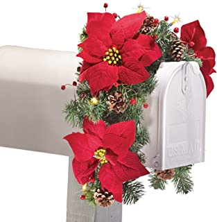 Collections Etc Solar Poinsettia Swag Holiday Mailbox Decoration
