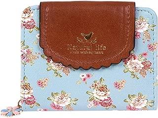 Damara Women PU Zipper Closure Flower Printed Flap Wallet