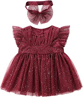 AGQT Toddlers Baby Girls Sequins Dress Ruffle Sleeve Tulle A-line Princess Baptism Party Dress with Bow-Know Headband