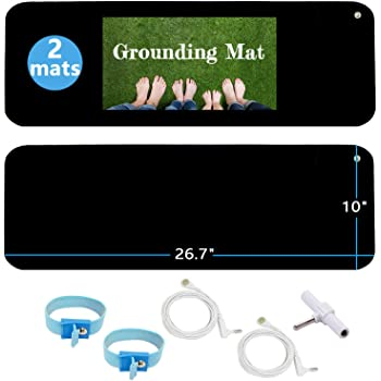 """Grounding Mat Kit (2 Pack)-2 Grounding Mats (10 x 26.7"""") with Grounding Adapter, 2 Straight Cords (15ft) and 2 Grounding Wristbands - Reduce Inflammation, Improve Sleep and Helps with Anxiety"""