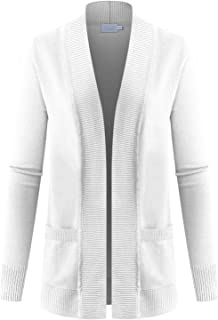 Women's Solid Basic Open Front Knit Long Sleeve Pockets Sweater Cardigan (S~3XL)