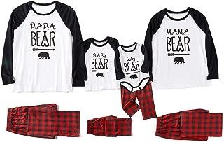 Matching Family Pajamas Sets Christmas PJ's with Bear Printed Tee and Plaid Pants Loungewear Upgrade 2019