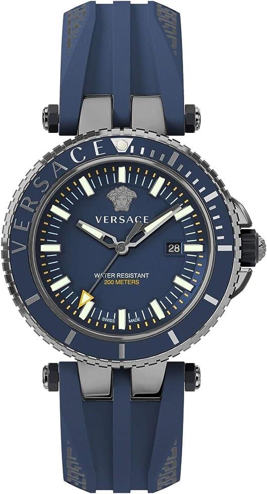 Versace v-race diver orologio da uomo con cassa in acciaio inossidabile e cinturino in silicone VEAK00218