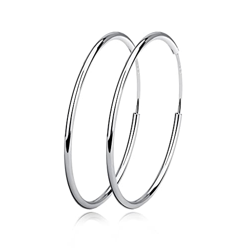 023800dfb YFN Women Unisex 925 Sterling Silver Simple Polished Big Round Circle Endless  Hoops Earrings