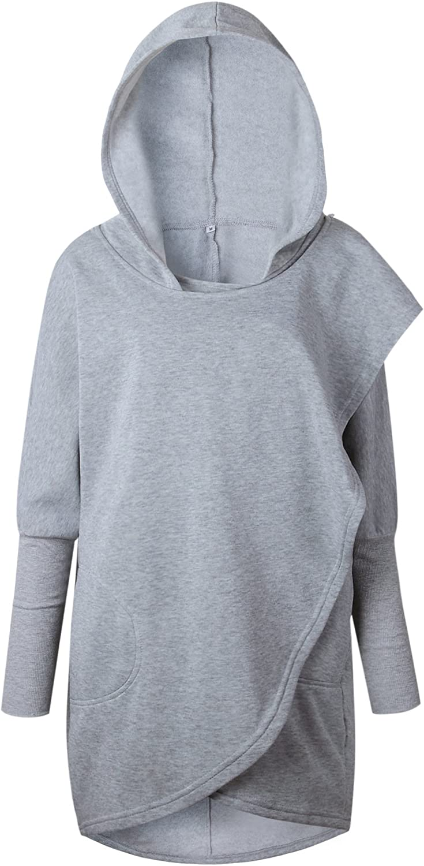 RAFAGO Loose Hooded Jacket Top, Light grau