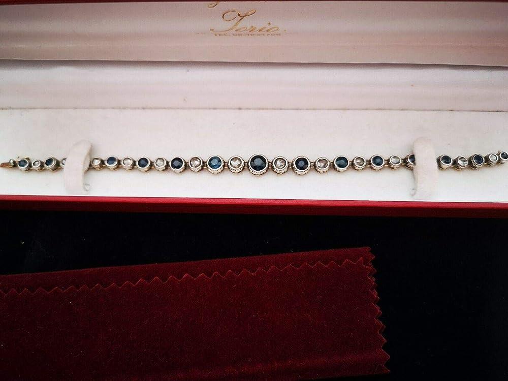 Unbrand bracciale vintage in oro con zaffiri burma, sri lanka, ceylon e diamanti naturali DIAM002BRACELET