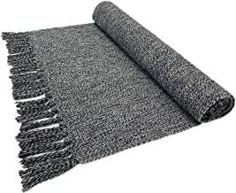 Eanpet Braided Rug Cotton Area Rug Hand Woven Reversible Floor Rug Pure Tassels Throw Rugs Door Mat Laundry Room Rug Indoor Runner Bathroom Tablecloth Black 2x6 FT