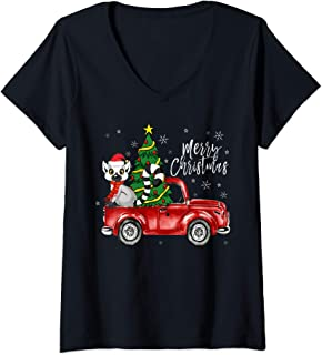 Womens Cute Lemur Truck Christmas Costume Funny Lemur Lover Gift V-Neck T-Shirt