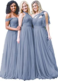 Dusty Blue Convertible Tulle Long Wedding Bridesmaid Dresses 2018 for Women B004