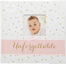Carter's Pink and Gold Polka Dot Slim Bound Photo Album for Baby Girls, Holds 160 Photos, 40 Pages