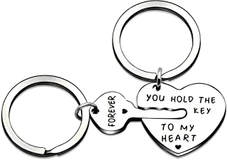 2pcs Couple Key Ring Set Love Heart Key Locks Lover Gifts - You Hold The Key to My Heart Forever