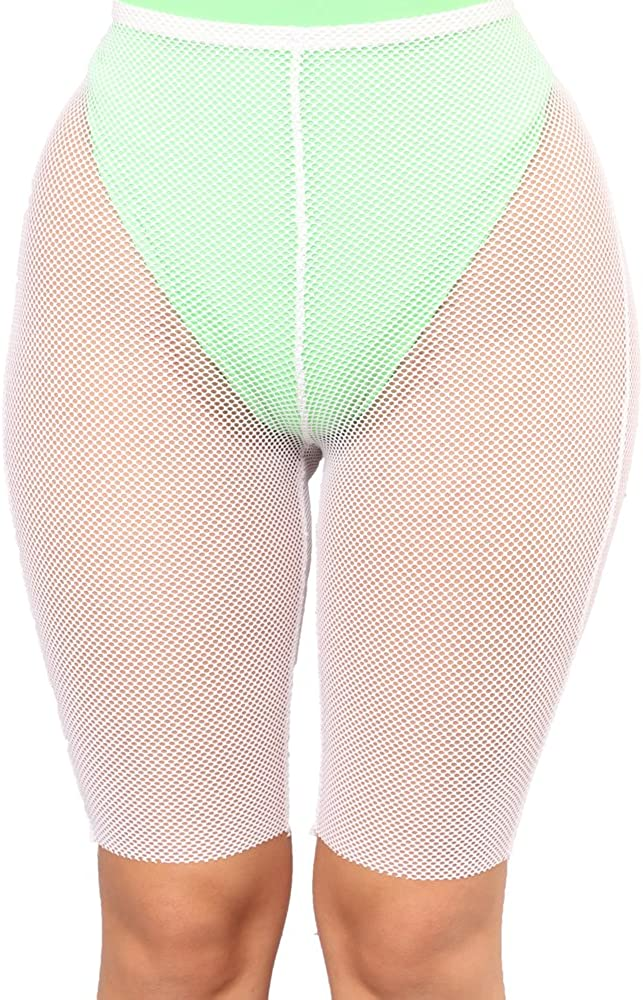 Multitrust Sexy Women See Through Mesh Fishnet Swimsuit Cover Up Shorts Bikini Bottom Cover-up Pants