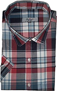 Twist Mens Italian Cotton Checkered Half Sleeve Shirt