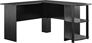 AmazonBasics Classic L-Shaped Desk with Open Bookshelves, Black