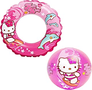 Intex Hello Kitty Kids Accessories Swimming Set - Set Includes: Swim Ring (Tube) and Beach Ball - for Kids Ages 3-6