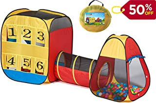 UTEX 3 in 1 Pop up Play Tent with Tunnel ,Ball Pit for Kids,Babies,Boys,Girls,Toddlers,Indoor and Outdoor Playhouse Gift