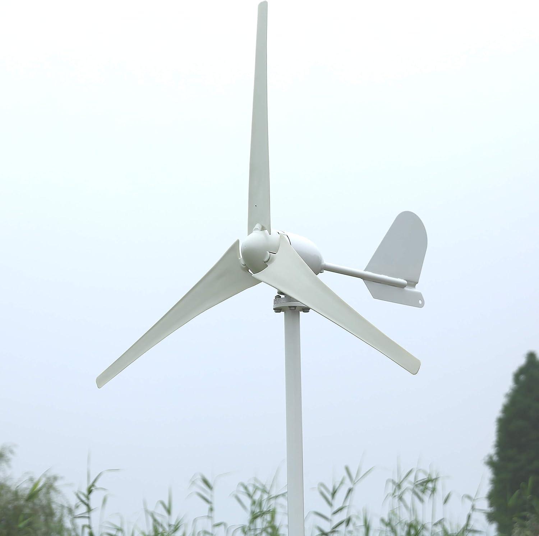 Aerogeneradores Axis horizontal de alta eficiencia 500W AC Turbina de viento 12V o 24V para barco Energía solar y eólica (Color : With wind controller, Specification : 3 Blades)