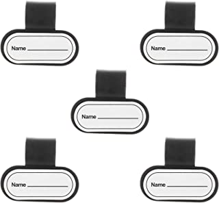 Beautyflier 5 Pcs Plastic Name ID Identification Tag Clip for Stethoscope Tube Replacement (Oval(White/Black))