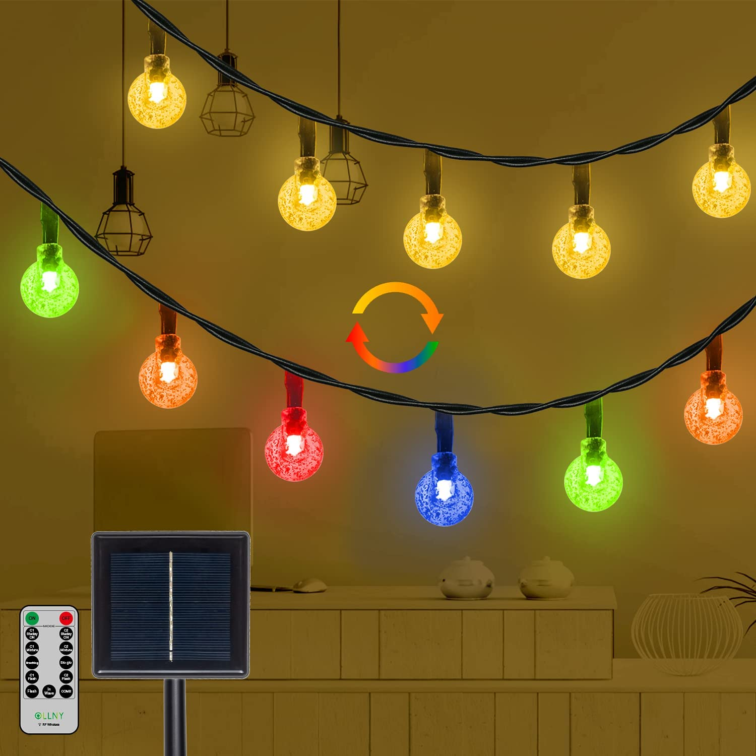 Solar String Lights Outdoor, 50 LEDs Christmas Lights Warm White Color Changing Globe Fairy Twinkle Lights with Remote&11 Mode, Waterproof for Outdoor Garden Patio Yard Tree Home Wedding Decor -25ft