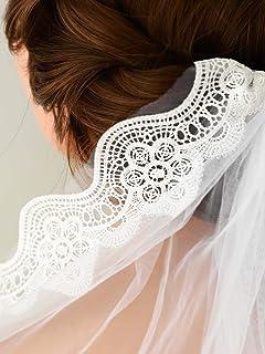 Ushiny - Velo da sposa con pettine in metallo e pizzo con bordo a goccia e velo, accessori per capelli da donna, lunghezza...