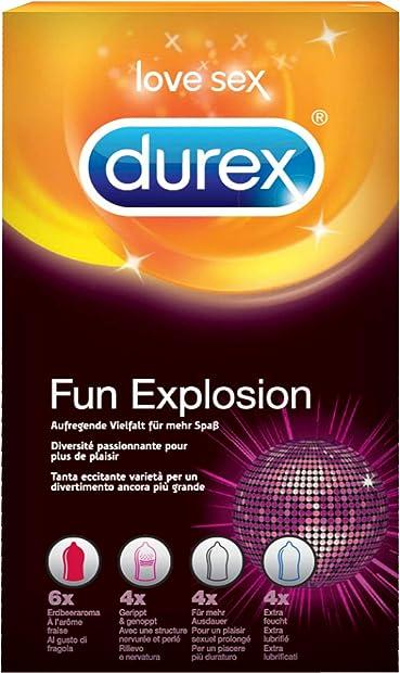 Preservativi stimolanti assortiti durex fun explosion , 18 profilattici 3038304