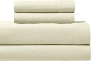 Royal Tradition Heavyweight Flannel, 100 Percent Cotton Split King 5PC Sheets Set for Adjustable Beds, Ivory, 170 GSM