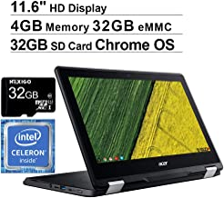 Acer Spin 11 11.6 Inch Touchscreen 2-in-1 Chromebook Laptop, Intel Celeron N3350 up to 2.4 GHz, 4GB LPDDR4 RAM, 32GB eMMC, Chrome OS + NexiGo 32GB MicroSD Card Bundle (Renewed)
