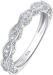Wuziwen 3mm Cubic Zirconia Bands Sterling Silver CZ Stackable Eternity Ring for Women Size 5-10