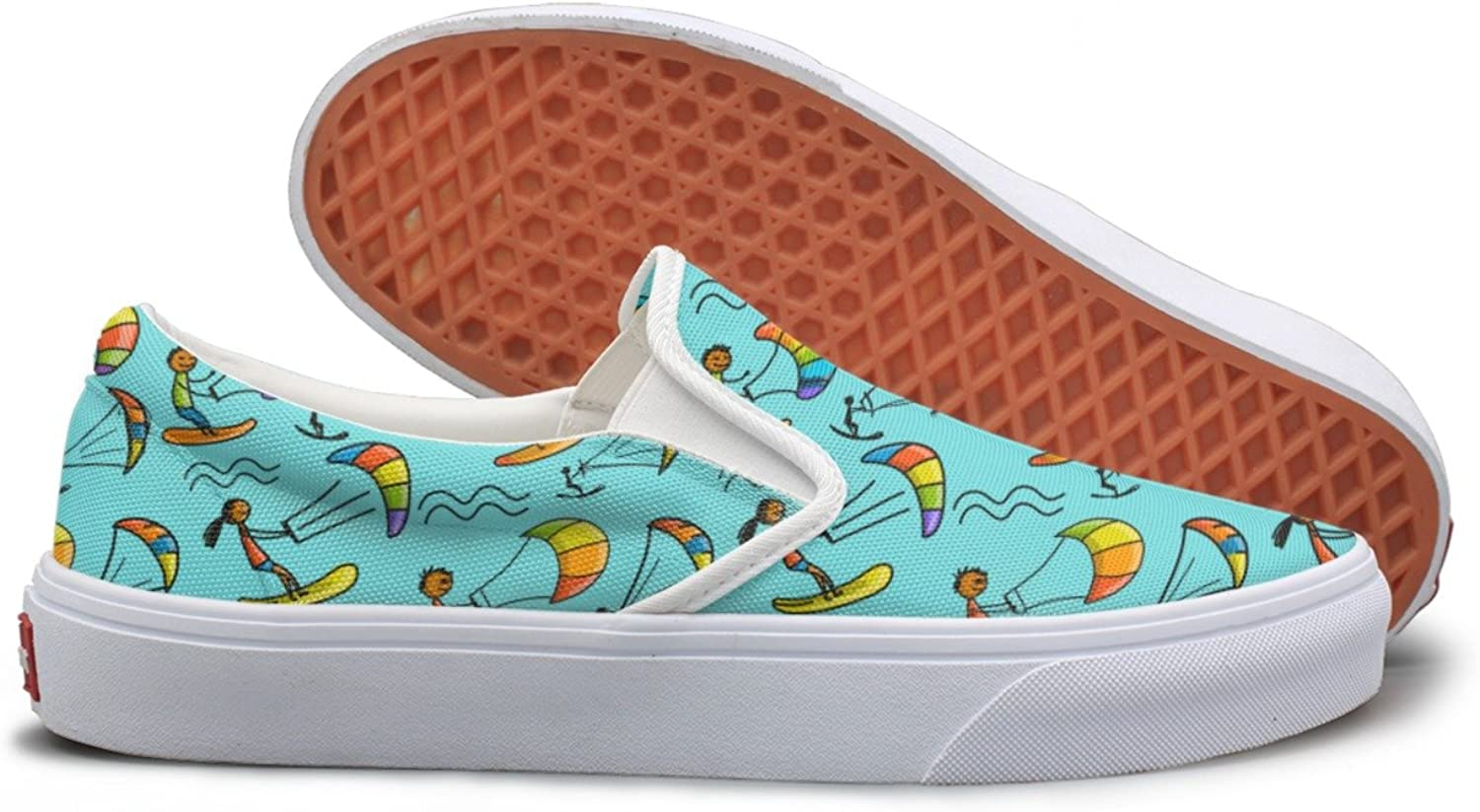 Kiteboarding Cute Cartoon Sun Fishing Surfing Top Sneakers For Women