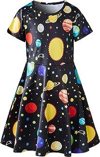 Toddler Girl's Dress 3D Print Short Sleeve Swing Skirt Casual Kids Party Dress
