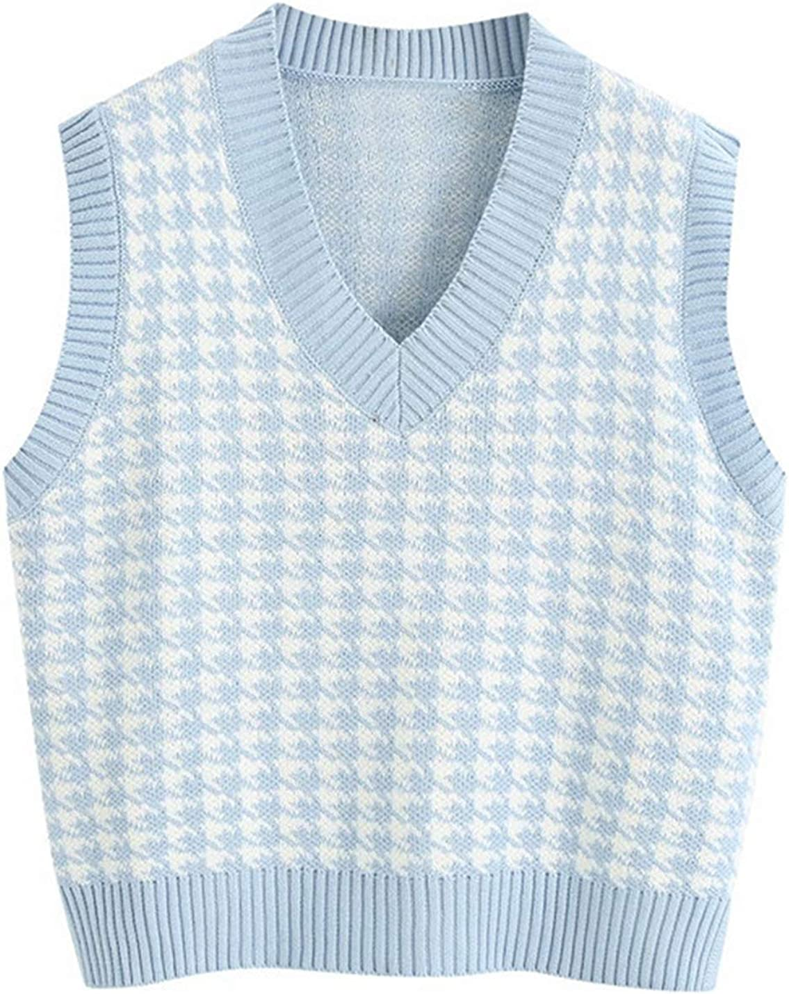 Jenkoon Women's Stylish Houndstooth Super sale period limited Free shipping on posting reviews Knit Vest Sweater V-Neck Pre