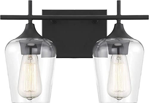 """Savoy House 8-4030-2-BK Octave 2-Light Bathroom Vanity Light in a Black Finish with Clear Glass (14"""" W x 9"""" H)"""