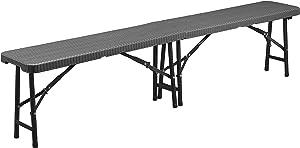 CON:P Sitzbank klappbar - Moderne Rattan-Optik - anthrazit - Pflegeleichtes Material - 183 x 43 x 28 cm - Wetterfeste Sitzmöglichkeit für draußen/Klappbank/Campingbank/Bierzeltgarnitur / B46504